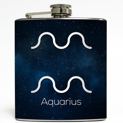 Aquarius - Astrology Zodiac Sign Flask