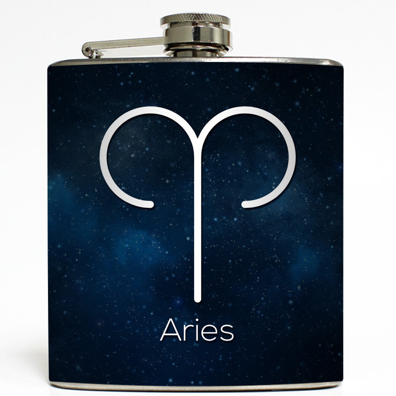 Aries Astrology Zodiac Flask 6 Oz Stainless Steel Liquid Courage