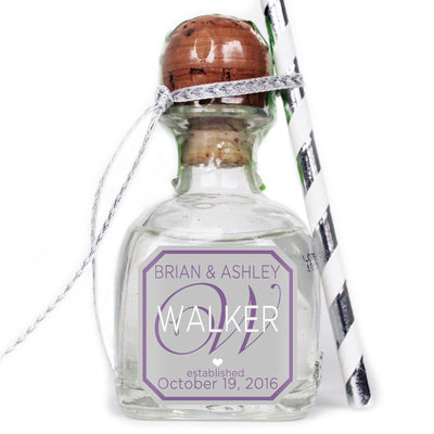 Monogram - Wedding Patron Mini Bottle Labels