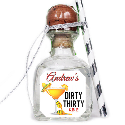 Dirty Thirty - Birthday Patron Mini Bottle Labels