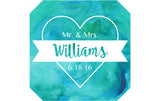Watercolor Heart 2 - Wedding Patron Mini Bottle Labels