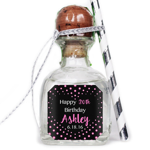 Dots & Heart - Birthday Patron Mini Bottle Labels