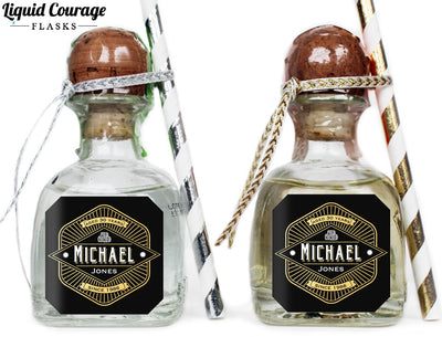 Three Barrel Black & Gold - Birthday Patron Mini Bottle Labels