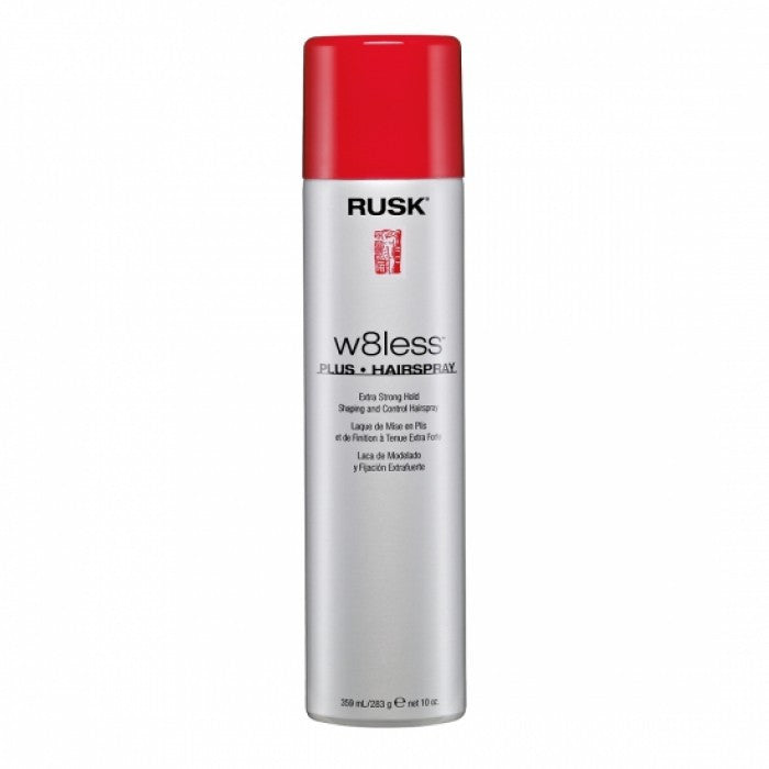 Rusk Designer Collection W8less Plus Extra Strong Hold Shaping and Control Spray 10 Oz 80% VOC
