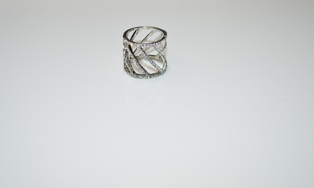 Crystal Stud Detail Cut Out Cage Ring