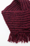 Loganberry Chunky Knitted Square Tassel Snood