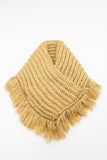 Camel Chunky Knitted Square Tassel Snood
