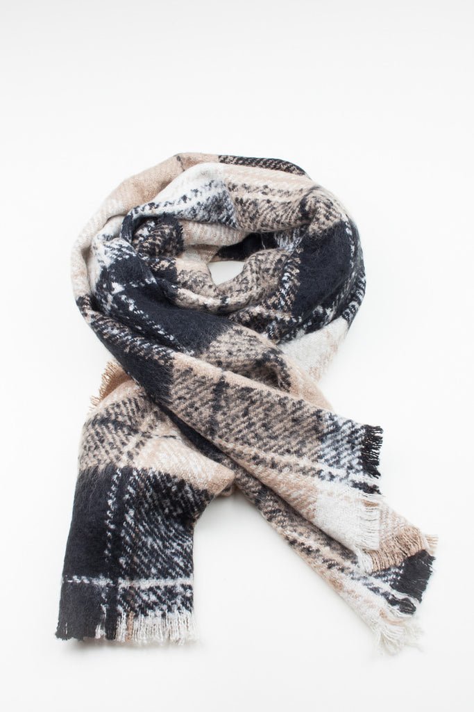Check Print Oversized Winter Scarf