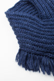 Navy Chunky Knitted Square Tassel Snood