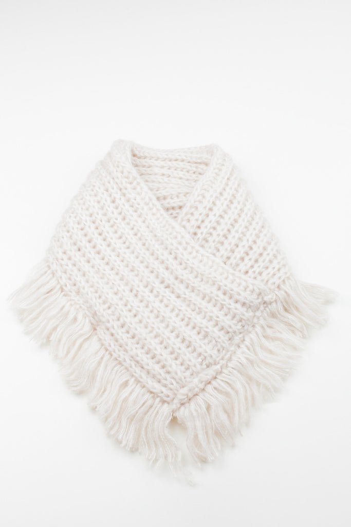 Ivory Chunky Knitted Square Tassel Snood