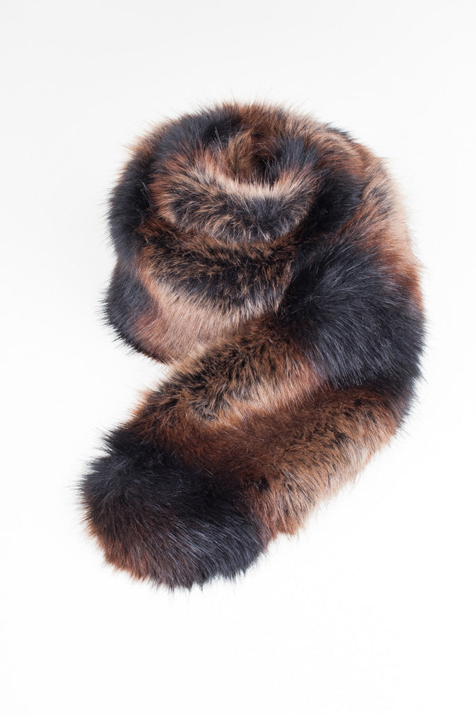 Maroon Long Faux Fur Scarf
