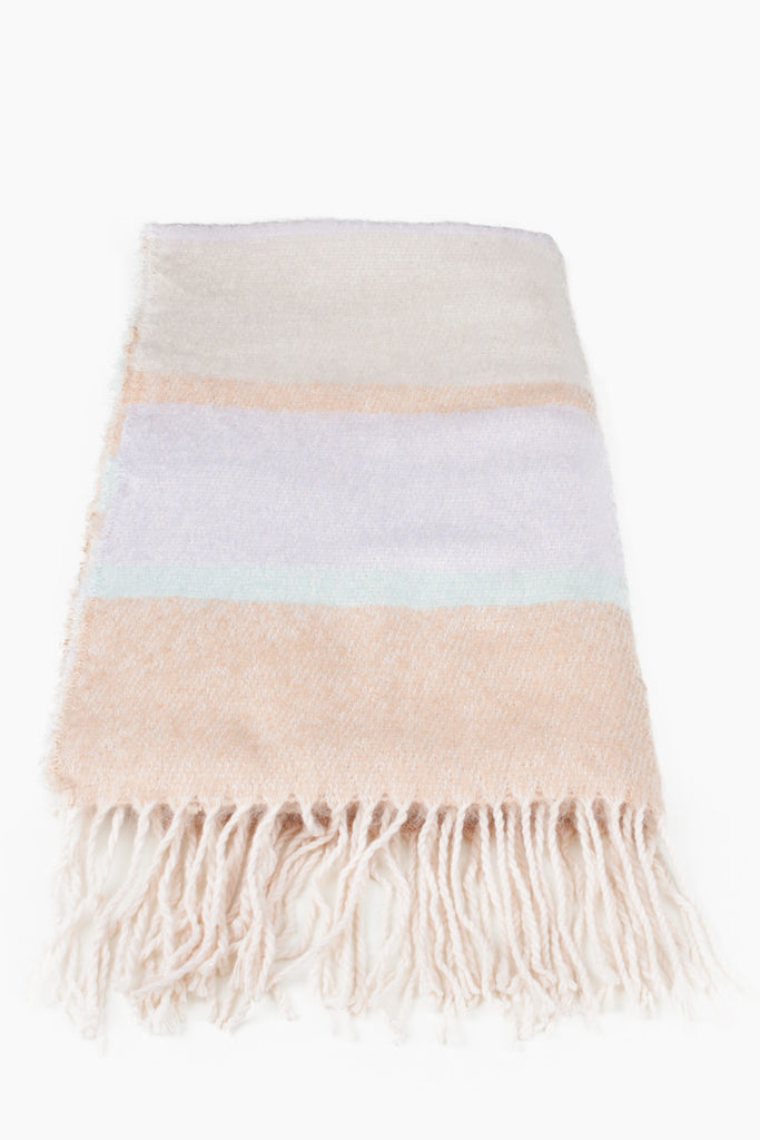 Peach Colour Block Winter Scarf