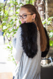 Soft Black Regular Length Faux Fur Scarf - GW Clarissa
