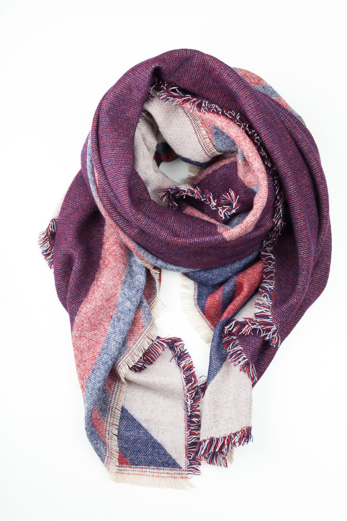 Berry Colour Block Winter Scarf