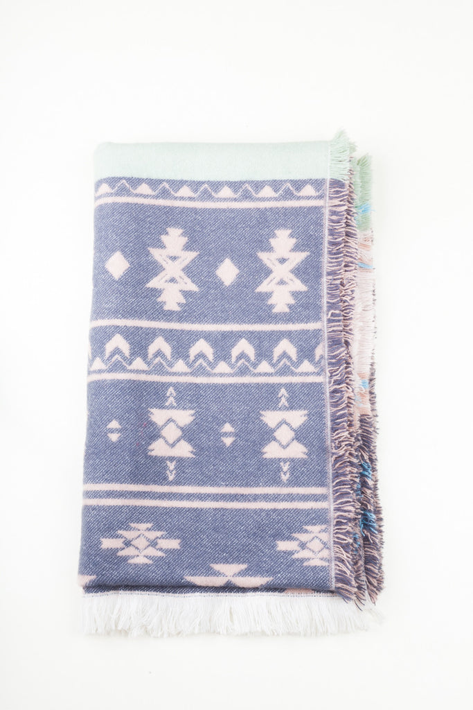 Scandi Colours Aztec Print Oversized Scarf