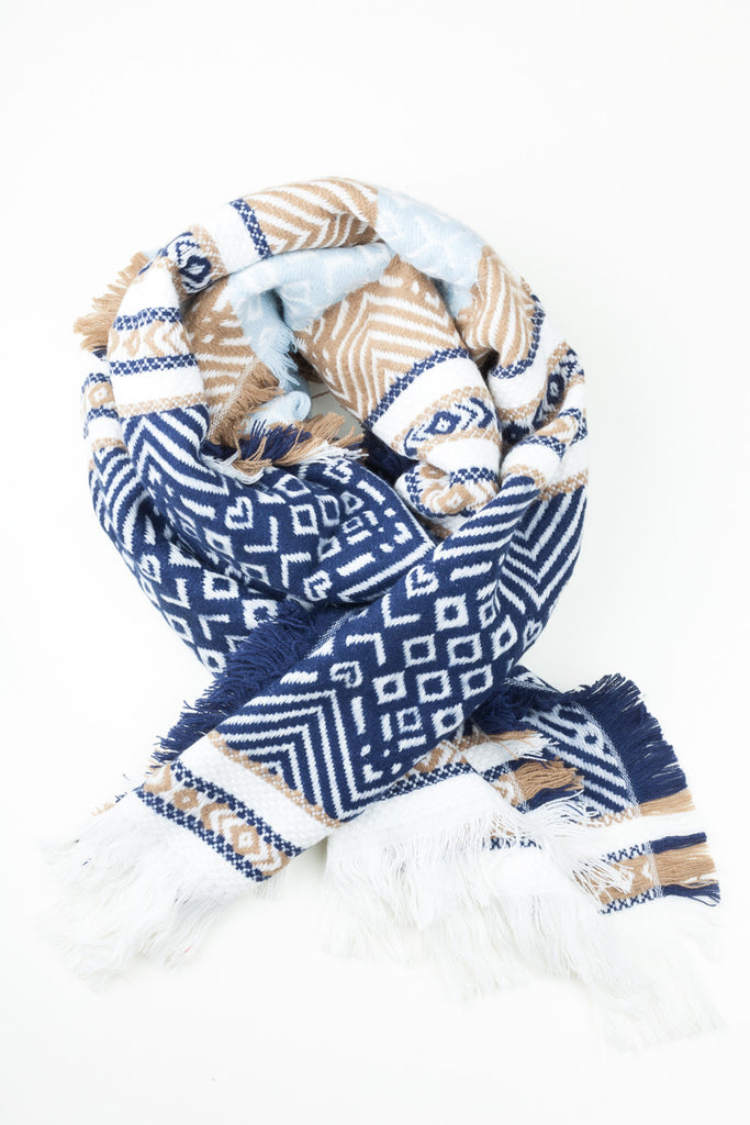 Multi Aztec Printed Oversized Scarf