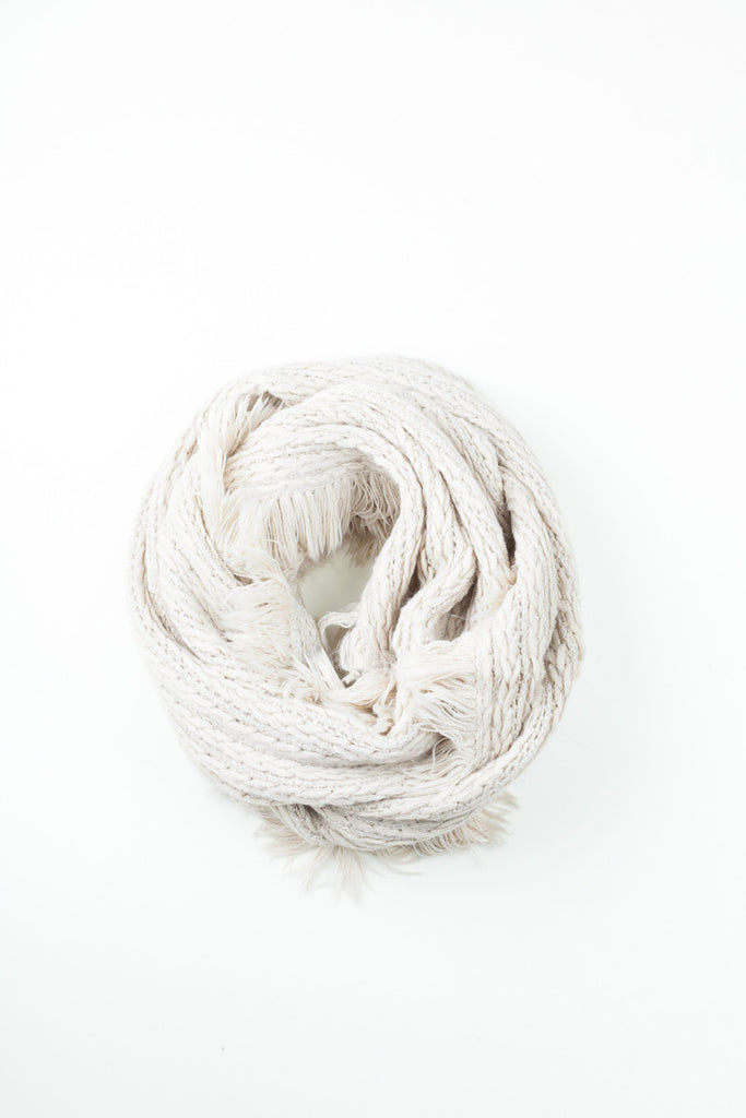 White Cable Knit Tassel Detail Snood