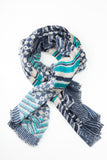 Blue Aztec Print Winter Scarf