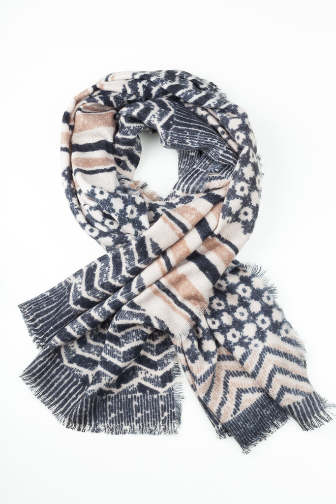 Two Tone Printed Winter Scarf