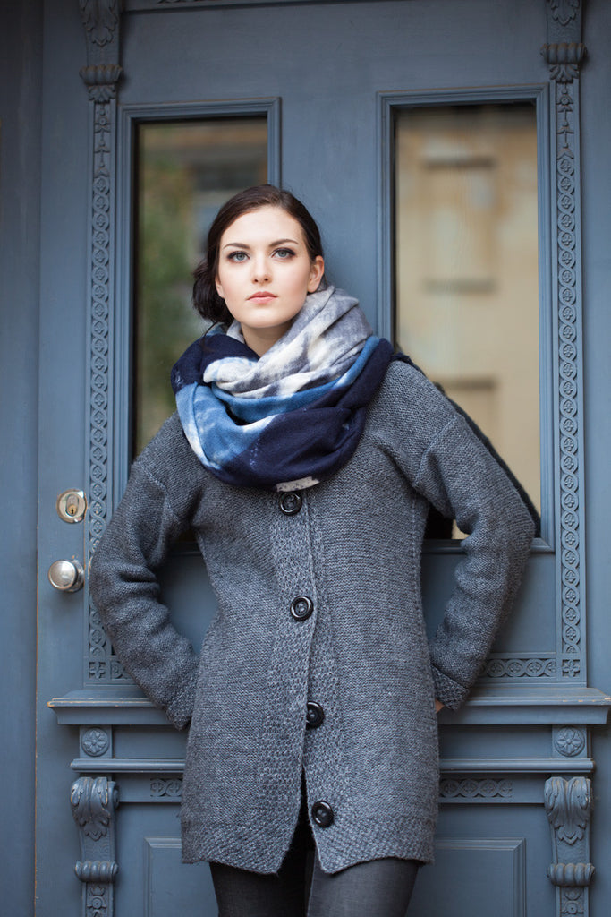 Blue Boucle Winter Scarf