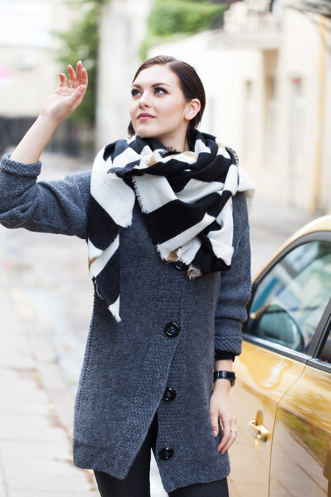 Contrast Stripy Winter Scarf