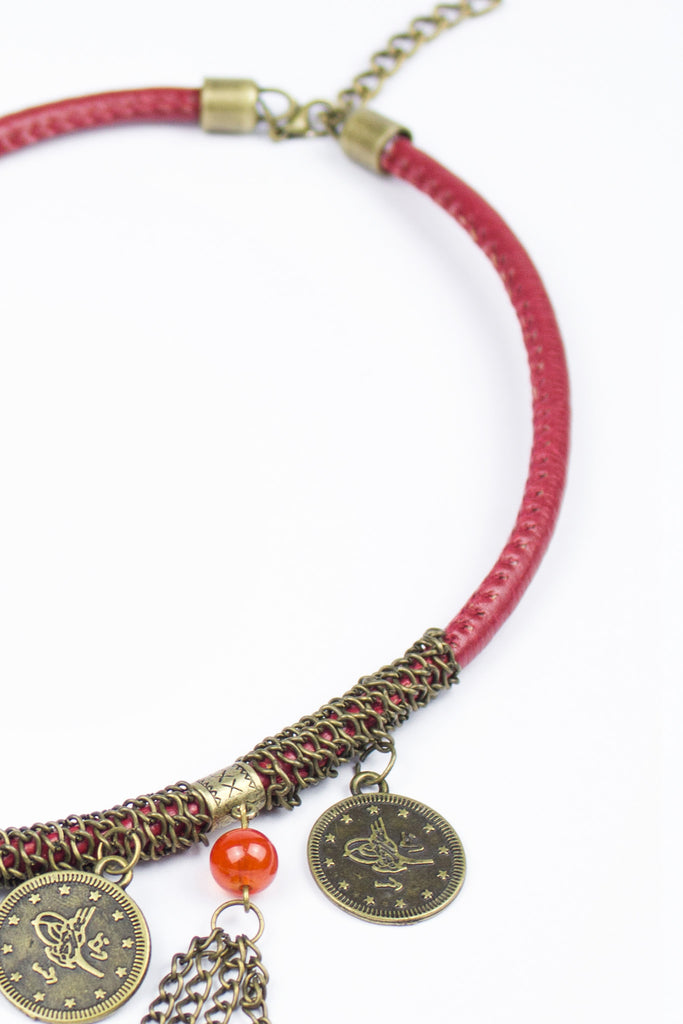 Red Ethnic Tassel Detail Necklace