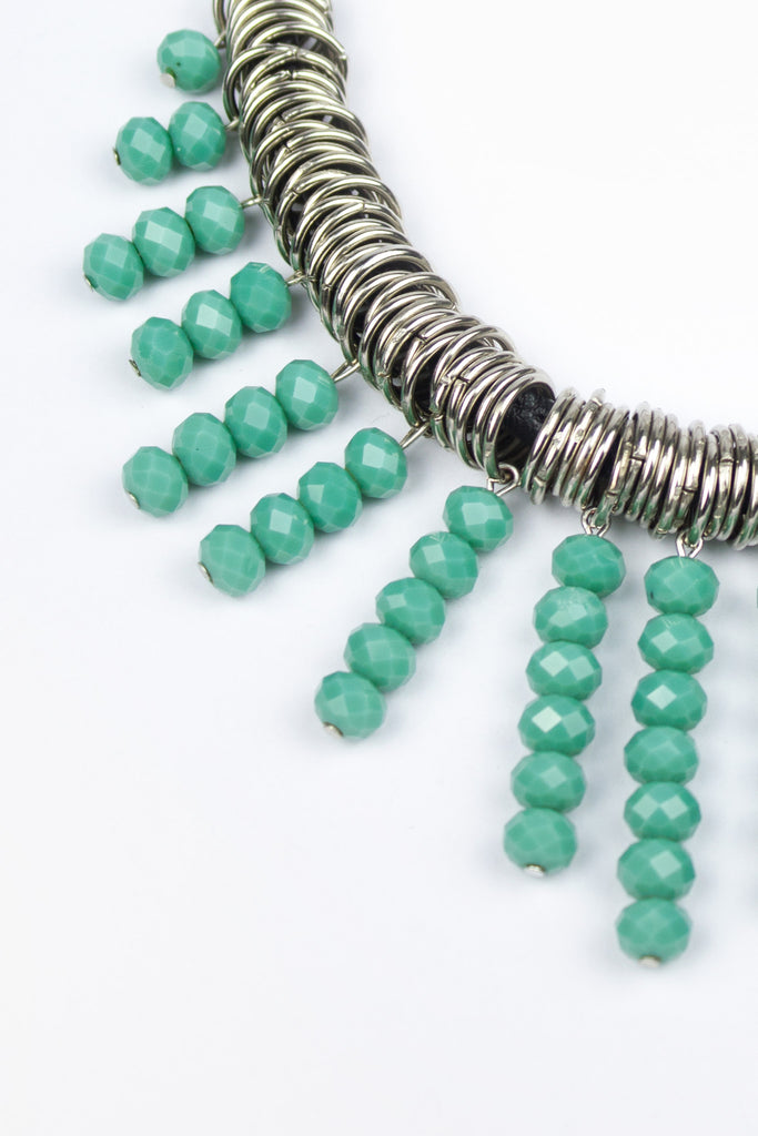 Green Stone Tassel Detail Statement Necklace