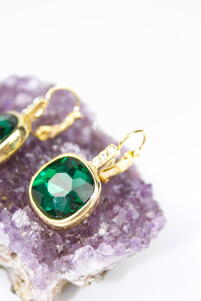 Gold Emerald Insert Drop Earrings