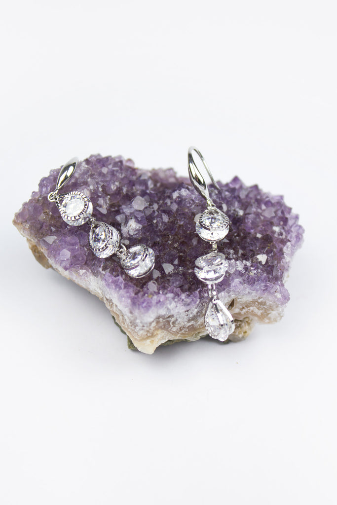 Silver Rosie Crystal Drop Earrings