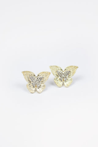 Crystal Stud Curve Drop Earrings