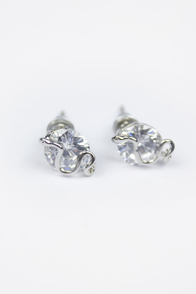Silver Snake Detail Crystal Stud Earrings