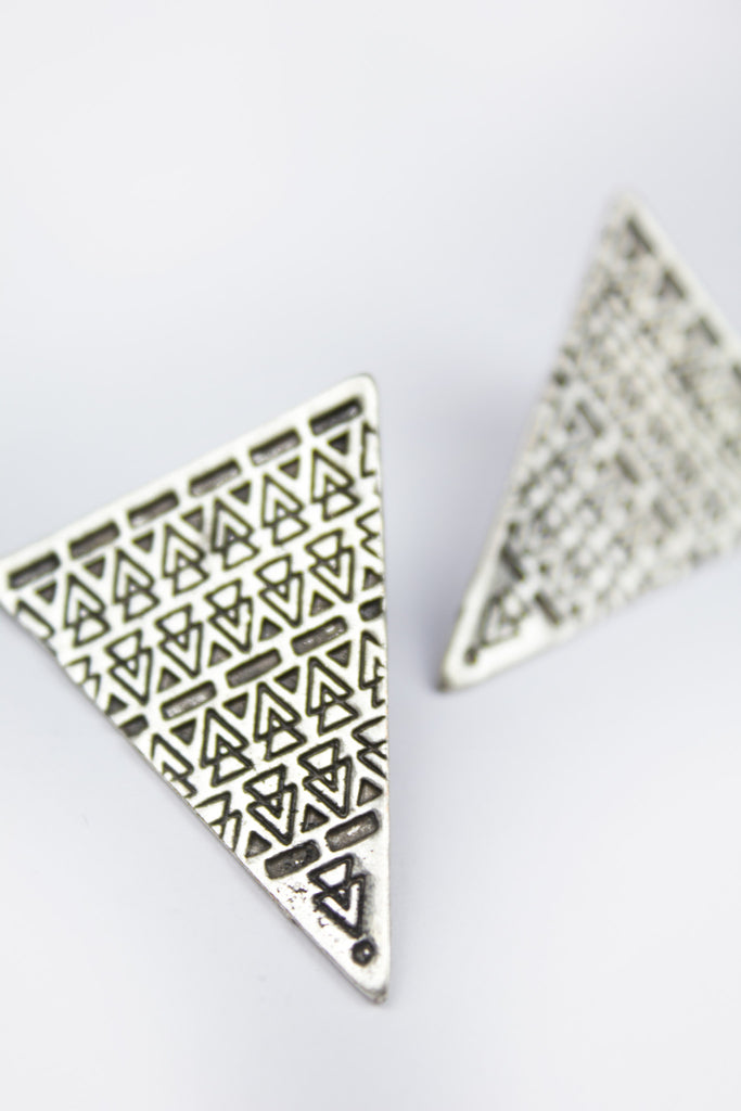 Aztec Triangle Stud Earrings