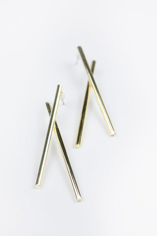 Gold Snake Detail Crystal Stud Earrings