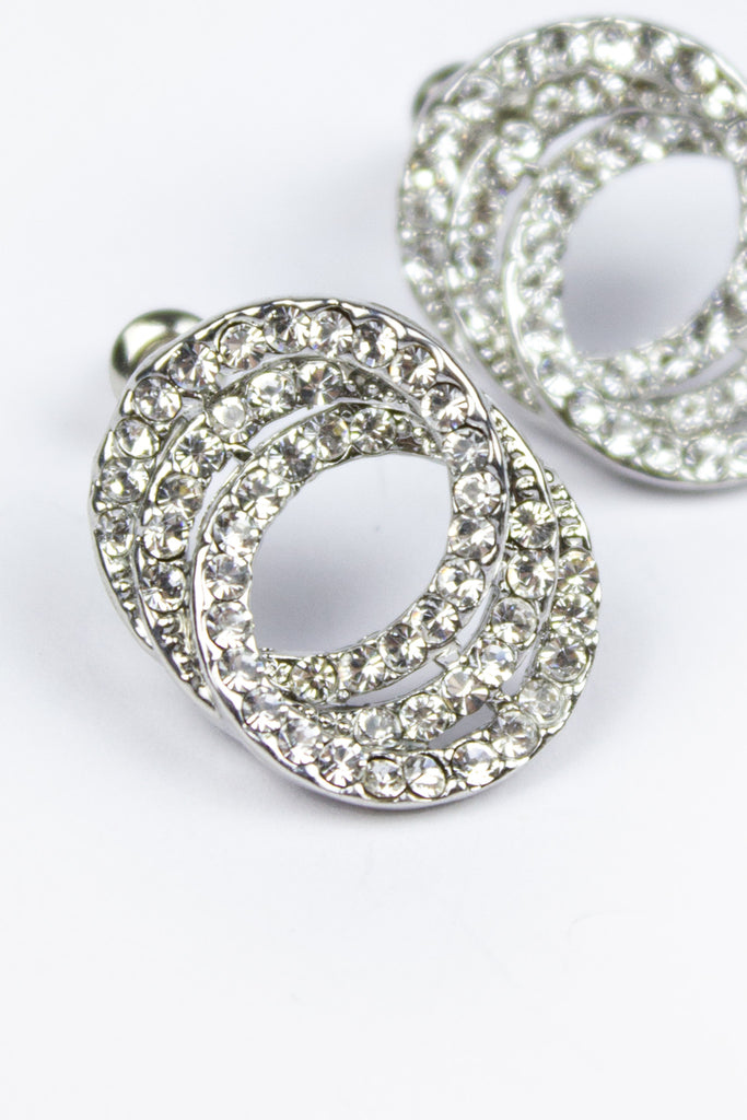 Sparkly Double Circle Stud Earrings