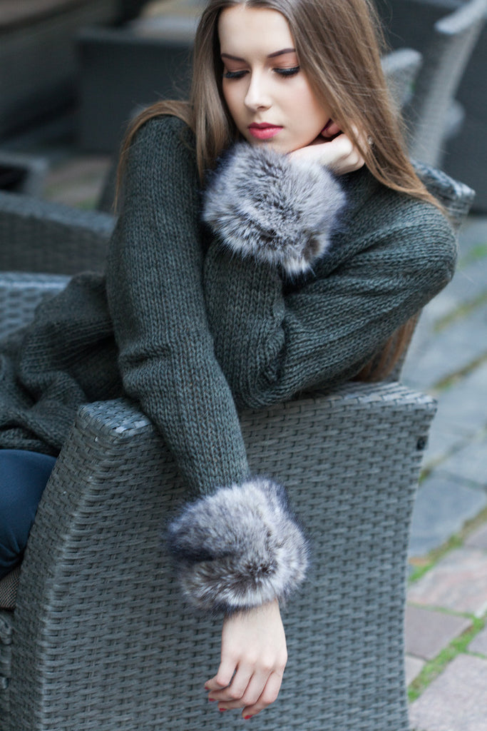 Dusty Grey Faux Fur Cuffs