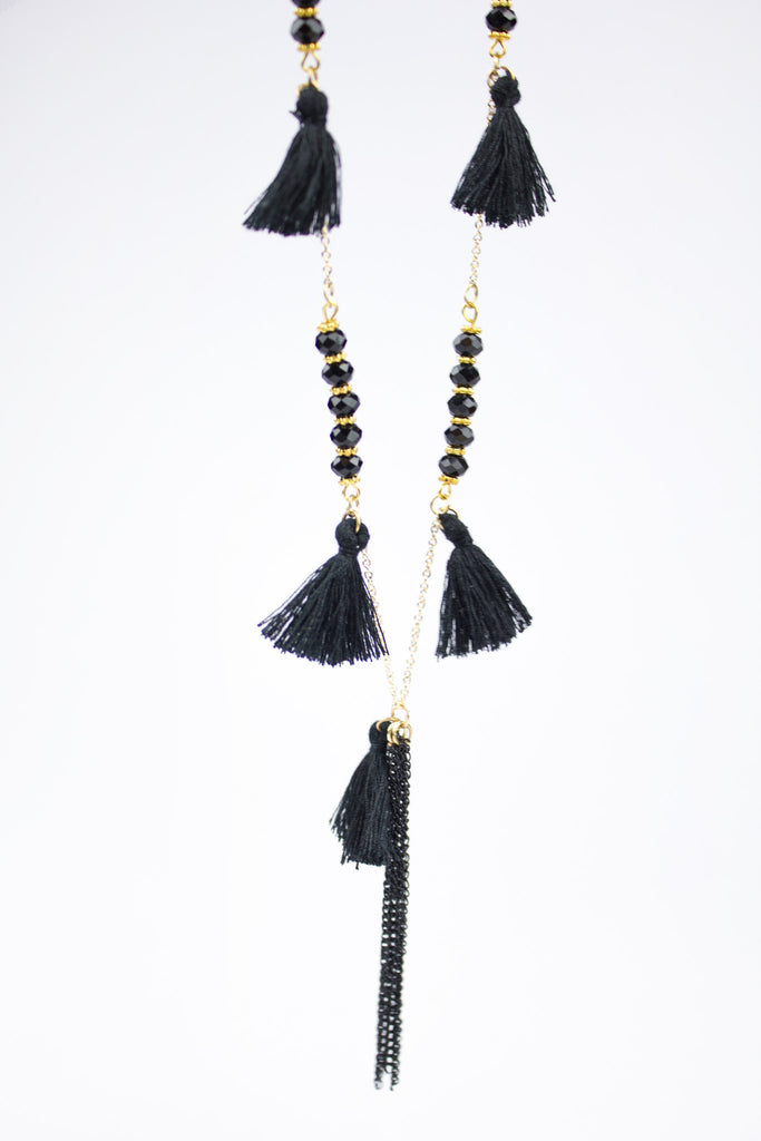 Necklace With Small Black Beads And Pretty Tassel Detail