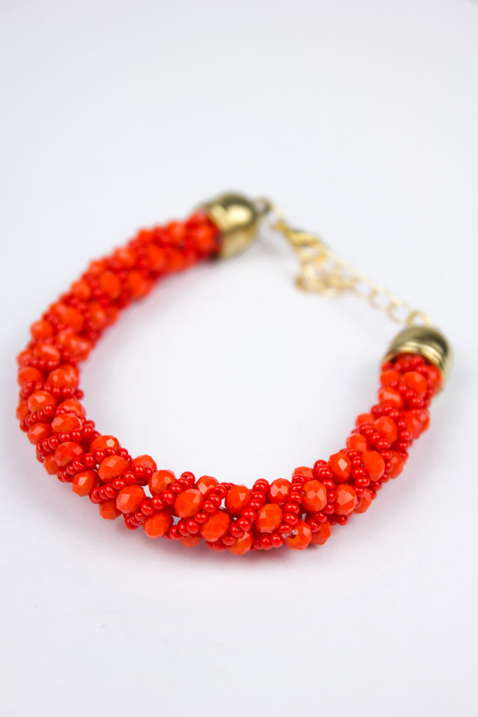 Red Bobble Clasp Bracelet
