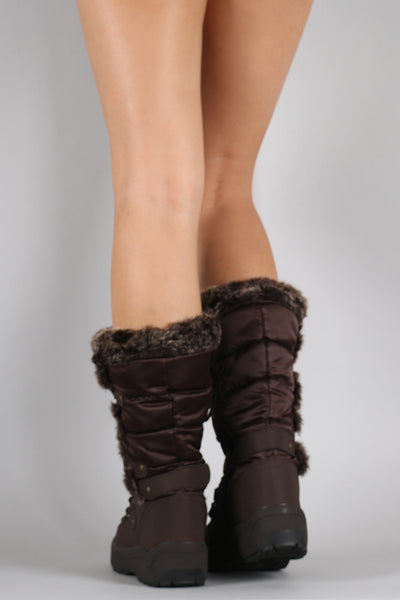Faux Fur Cuff Lace Up Nylon Winter Boots