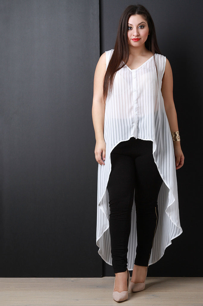 Chiffon Contrast Stripe High Low Hem Tunic Top
