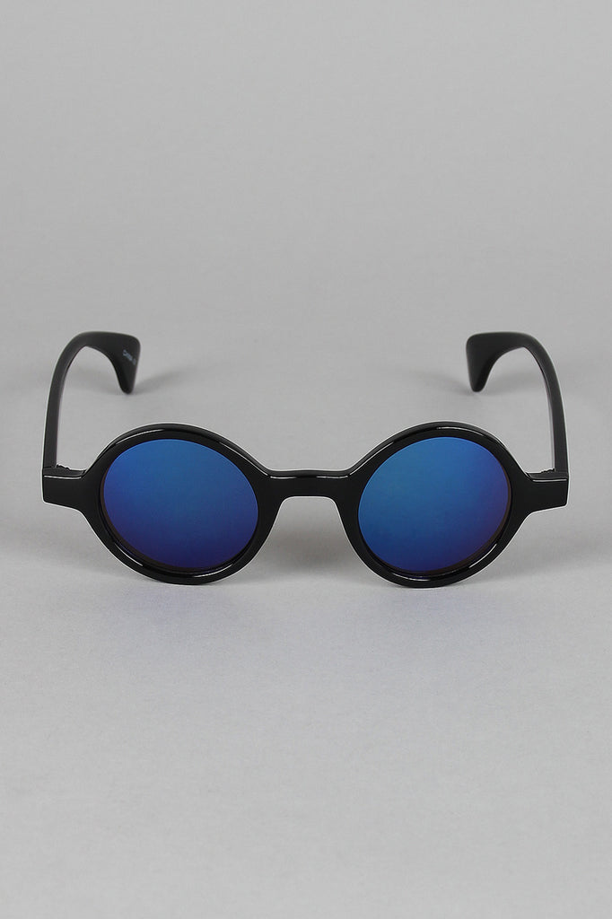 Horn Rim Mirrored Lens Sunglasses