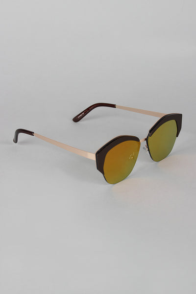 Geometric Semi-Rimless Sunglasses