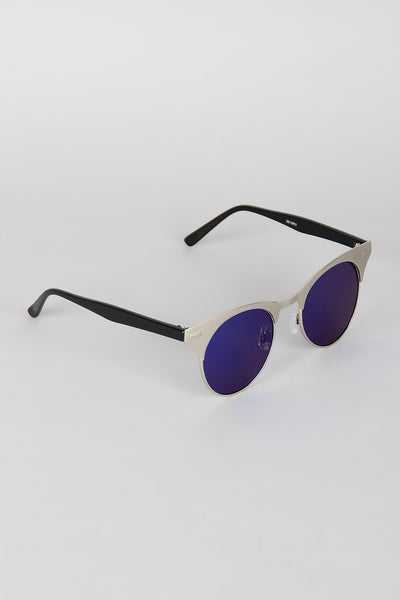 Semi-Rimless Metallic Round Sunglasses