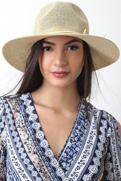 Vegan Leather Cord Straw Panama Hat