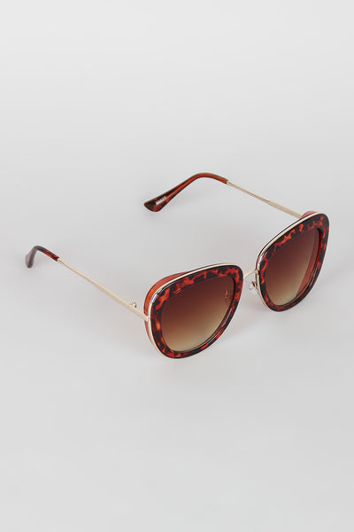 Rectangular Mod Contrast Sunglasses
