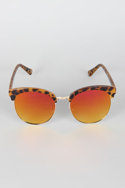 Wide Round Semi-Rimless Sunglasses