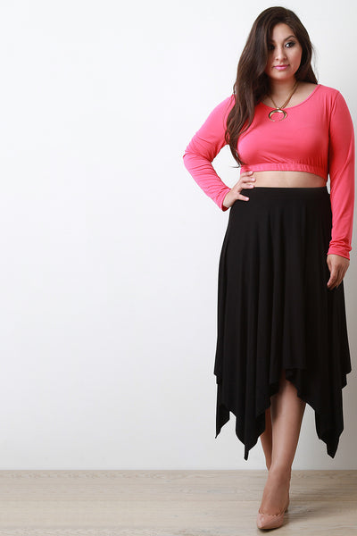 Solid Jersey Knit Handkerchief Hem Skirt