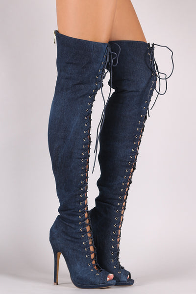 Liliana Denim Lace Up Stiletto Heeled Over-The-Knee Boots