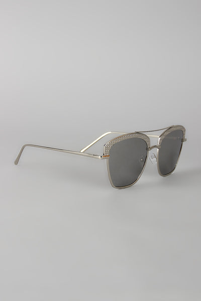 Textured Semi Rimless Wire Frame Sunglasses