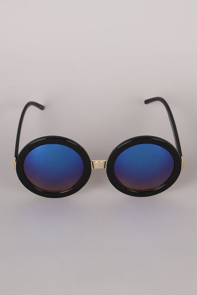 Mirrored Round Plastic Frame Sunglasses