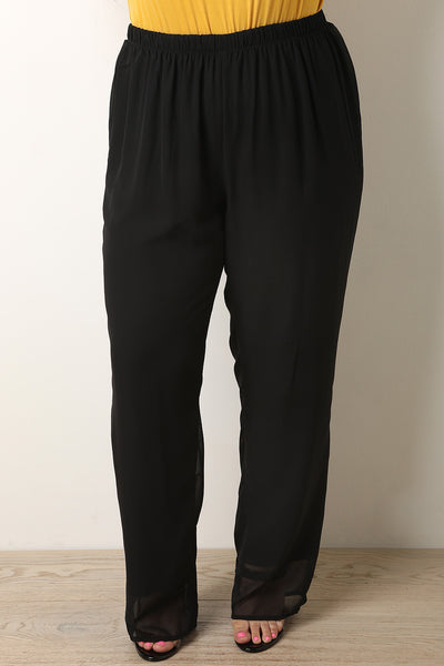 High Waisted Chiffon Pants